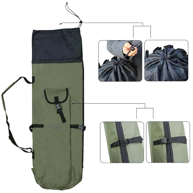 Fishing Rod Case Canvas Reel Organizer Travel Carry Pole Tools Bag