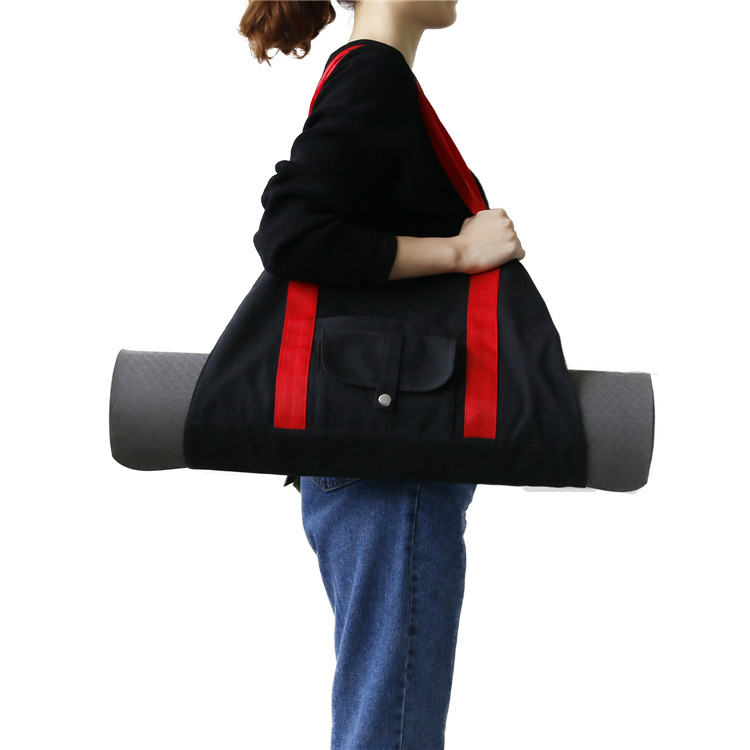 Heavy Duty Outdoor Canvas Exercise Gym Yoga Mat Shoulder Tote Carry Bag with Storage Pockets