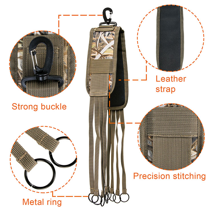 Outdoor Deluxe Camouflage Duck and Birds Hunting Game Hog Strap for Neck Use with 8 Metal Ringed Loops