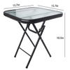 Outdoor Garden Folding Tempered Glass Coffee Tea Table