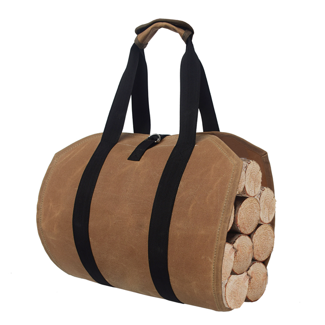 Fireplace Accessories Waxed Canvas Firewood Log Carrier Tote Bag with Handles Security Strap